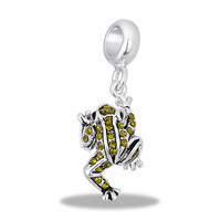 DaVinci Beads Dangle CZ Green Frog Jewelry