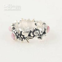 High-quality Engagement Rings 100% 925 Sterling Silver Pink CZ Stone Charm Ring European Style Fashion Jewelry