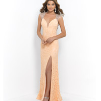 Peach Beaded Cap Sleeve Open Back Lace Gown