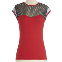 The Answer is Sheer Top in Red and Black