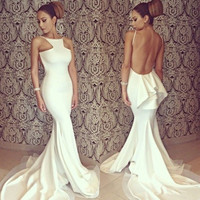 Women's Bridesmaid White Sexy Full Length Backless Off-shoulder Fishtail Mermaid Formal Evening Dresses Party Gown Wedding Long Maxi Dress D_L = 1712808772
