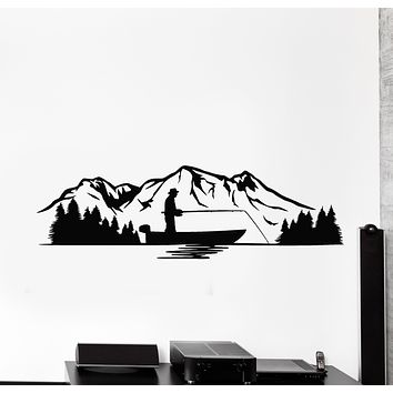 Vinyl Wall Decal Fisherman Fisher Fish Hobby Mountains Nature Stickers Mural (g3077)