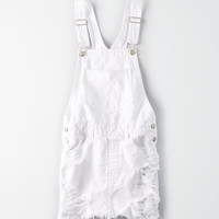 AE Ripped Overall Skirt, Fresh White