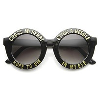 Women's Cross My Heart Hope To Die Round Sunglasses 9128