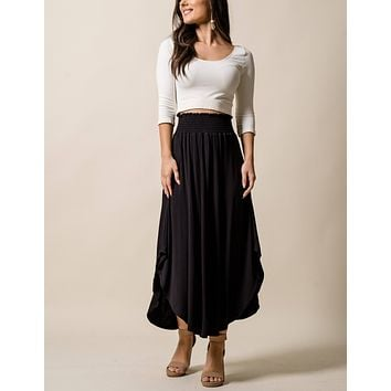 Bamboo Tulip Skirt - Black - Medium Only - As-Is-Clearance