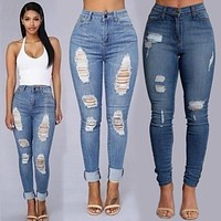 2017 Woman Hole Sexy Jeans Pant Femme Low Waist Ankle Length Cowboy Ripped Jeans For Women Female