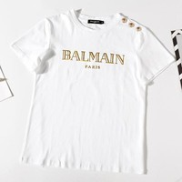 BALMAIN Fashionable Women Men Casual Golden Letter Print Button-Embellished Short Sleeve T-Shirt Top White