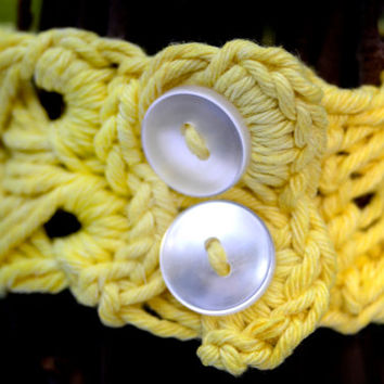 Broomstick Lace Cuff, Hand Dyed Cotton Bracelet in Sunflower Yellow