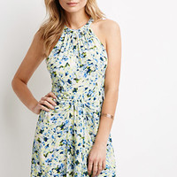 Watercolor Floral Halter Dress