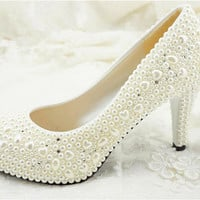 Handmade Pearl Crystal White wedding shoes ballet flat leather Pearl beads Bridal shoes Bridal flat heel shoes Bridesmaids shoes