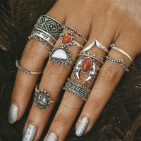 Fashion Ring Gemstone Ring Hollow Out Twisted Crown Set Accessories