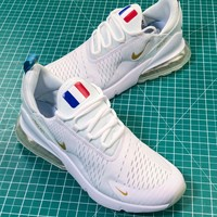 2018 World Cup Nike Air Max 270 White Gold France Logo Sport Running Shoes - Best Online Sale