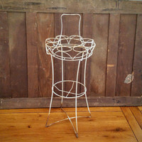 Vintage Chippy Rusty White Floor Stand Drink Caddy Carrier Plant Stand