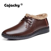 Cajacky Genuine Leather Winter Boots Men With Plush Super Warm Snow Boots Male Ankle Bota Shoes Luxury Brand Leather Shoes Fur
