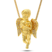 Gold Praying Angel CZ Necklace