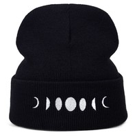 Moon Phase Embroidered Beanie