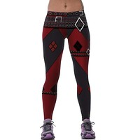 2016 Women Leggings Jeans Active Pants 3D Harley Quinn Printed Elastic Waist Mid Waist Leggings Gothic Punk Rock Clothing Legins