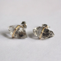 Raw Herkimer Diamond Crystal Stud Earrings, Titanium Hypoallergenic studs, Gold wire wrap, healing crystals and stones, Valentines Day gift