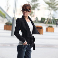 10% Off Sale Black Jacket Shrug Design Fitted Faux Suede Leather Jacket Casual Chic Coat Custom Women Jacket - NC235
