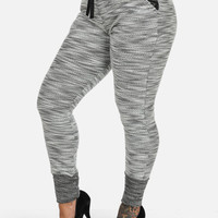 Knitted Joggers With Pleather Waist