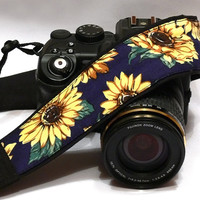 Sunflowers Camera Strap, Yellow, Dark  Blue, Black Camera Strap, Nikon, Canon Camera Strap, Women Accessories