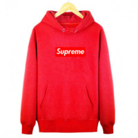 Supreme With thick printed letters long sleeve T-shirt hoodie Red
