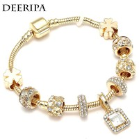 DEERIPA Gold Color Crystal Charm Bracelets For Women Girl With Golden Four-Leaf Clover Pandora Bracelet & Bangle Jewelry Gifts
