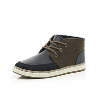 River Island Boys navy material panel boots