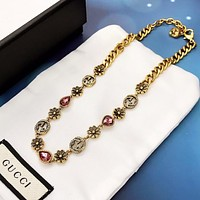 GUCCI New fashion letter diamond necklace women Golden