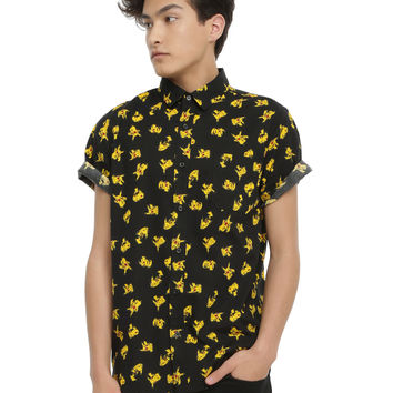 Pokemon Pikachu Print Short-Sleeved Woven