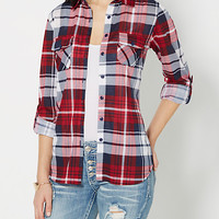 Navy Tartan Plaid Shirt