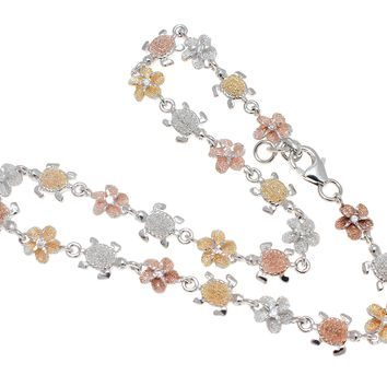 TRICOLOR SILVER 925 HAWAIIAN PLUMERIA FLOWER SEA TURTLE ANKLET 9 1/2""