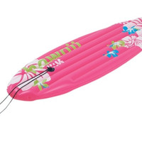 """59"""" Pink Tropical Surfboard-Inspired Inflatable Swimming Pool Float"""
