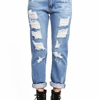 Track Ripped Mid-Rise Boyfriend Jeans