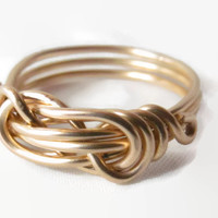 Infinity Love Knot Ring, Yellow Gold Fill
