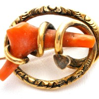 Antique 14K Gold Coral Brooch Jewellery Victorian Pin