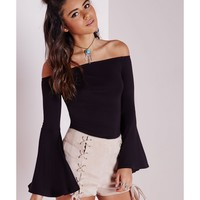 Missguided - Bell Sleeve Bardot Jersey Top
