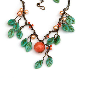 Peach Jade Statement Necklace Nature by CherylParrottJewelry