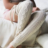 Women Fashion Casual Crochet Knit Socks Stockings