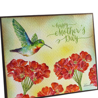 OOAK, Humming Bird, Original Handpainted Card, Watercolor Card, Mother's Day Card, NOT A PRINT