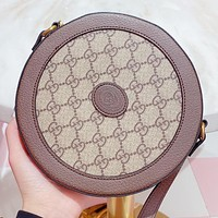 GUCCI New fashion more letter print leather round shoulder bag crossbody bag