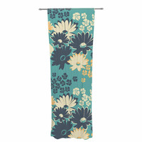 "Zara Martina Mansen ""Teal Color Bouquet"" Green Blue Decorative Sheer Curtain"