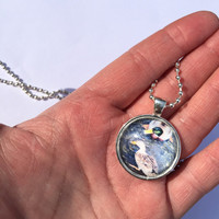Unique Teachers Gift, Unisex necklace, Mallard Ducks Medallion. Mallard Duck Photo, Glass dome jewelry, birthday present