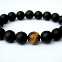 Matt Black Onyx and Tiger Eye Bracelet, Mens Beaded Bracelet, Stretch Bracelet, Gemstone Bracelet, Gift for Him, Bracelet for Men
