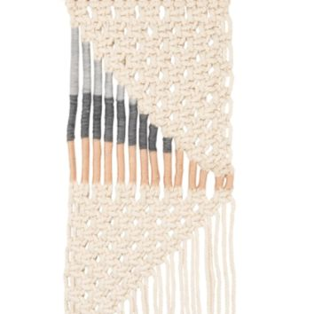 Vertical Macramé Wall Hanging - Large Triangle with Copper Accents