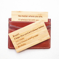 Wood Wallet insert card , Personalized Leather Wallet Card , Custom Wallet Insert Card , 3rd Leather Anniversart Gift , Mens Gift