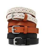 Brown Crochet Skinny Belt Trio