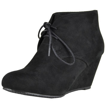 Womens Ankle Boots Suede Low Heel Lace Up Casual Wedges black