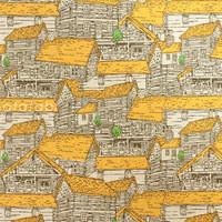 Japanese Fabric - Wooden Houses - mustard yellow and green on natural