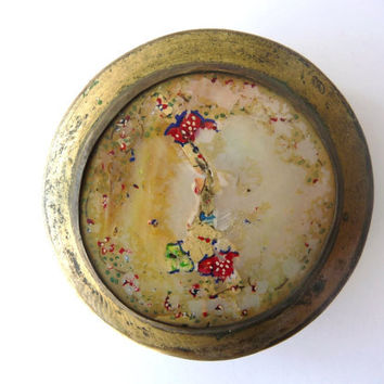 Vintage Metal Box with Mother of Pearl and Silver Metal  - Trinket Box